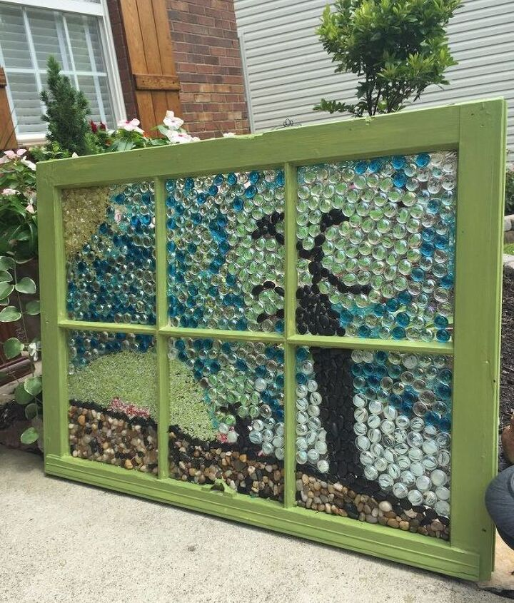 how to make a marble mosaic on an old window frame, how to, repurposing upcycling, tiling, windows
