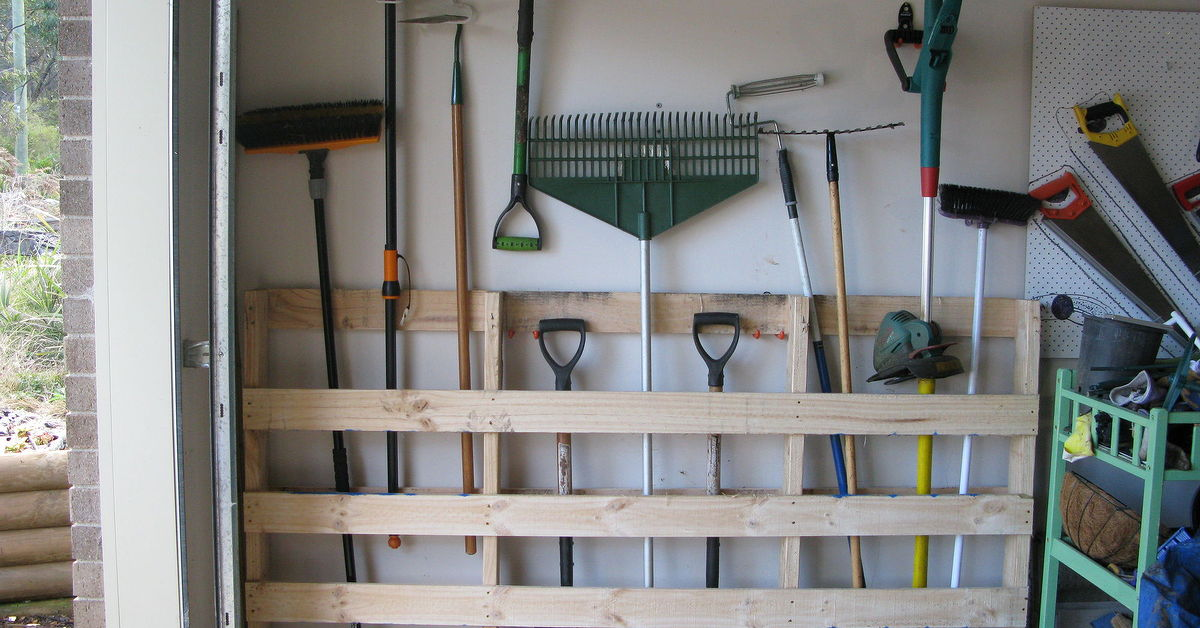 garage tool storage garage storage for garden tools from pallet hometalk 15754
