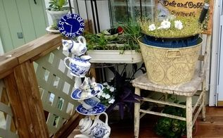 repurposed tea set to outdoor decor, crafts, how to, outdoor living, repurposing upcycling