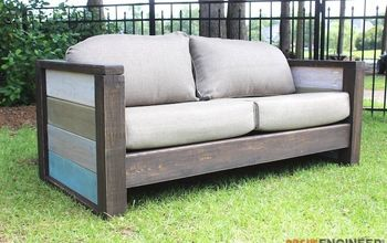 diy planked outdoor loveseat, how to, outdoor furniture, painted furniture, pallet, repurposing upcycling