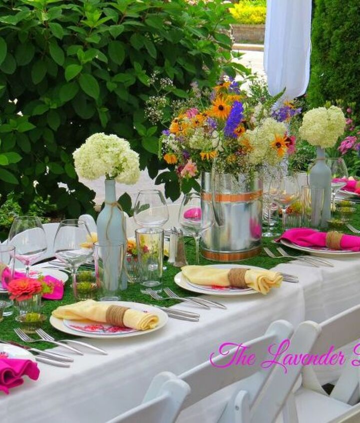 garden themed party tablescape, dining room ideas, flowers, outdoor living