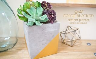 gold color blocked cement planter, concrete masonry, container gardening, gardening, succulents