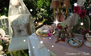 outdoor tea party decor, outdoor living, repurposing upcycling