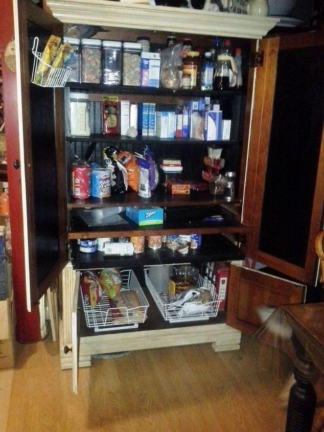 repurposed tv armoire to pantry, closet, painted furniture, repurposing upcycling