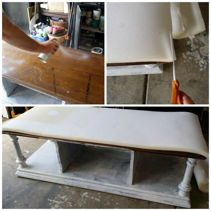 diy upholstered bench from a coffee table, painted furniture, repurposing upcycling, reupholster