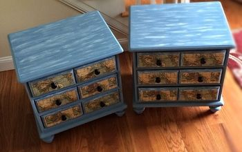 Nautical end tables painted with CeCe Caldwell
