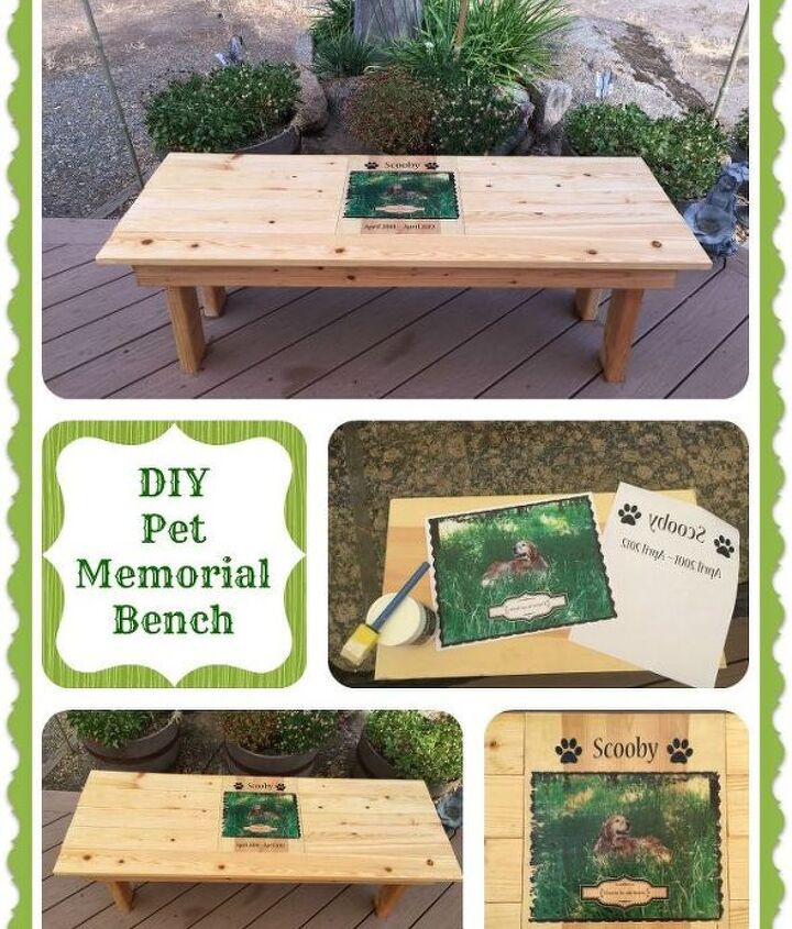 diy pet memorial photo bench, decoupage, diy, how to, outdoor furniture, woodworking projects