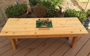diy pet memorial photo bench, decoupage, diy, how to, outdoor furniture, woodworking projects, Completed pet memorial bench