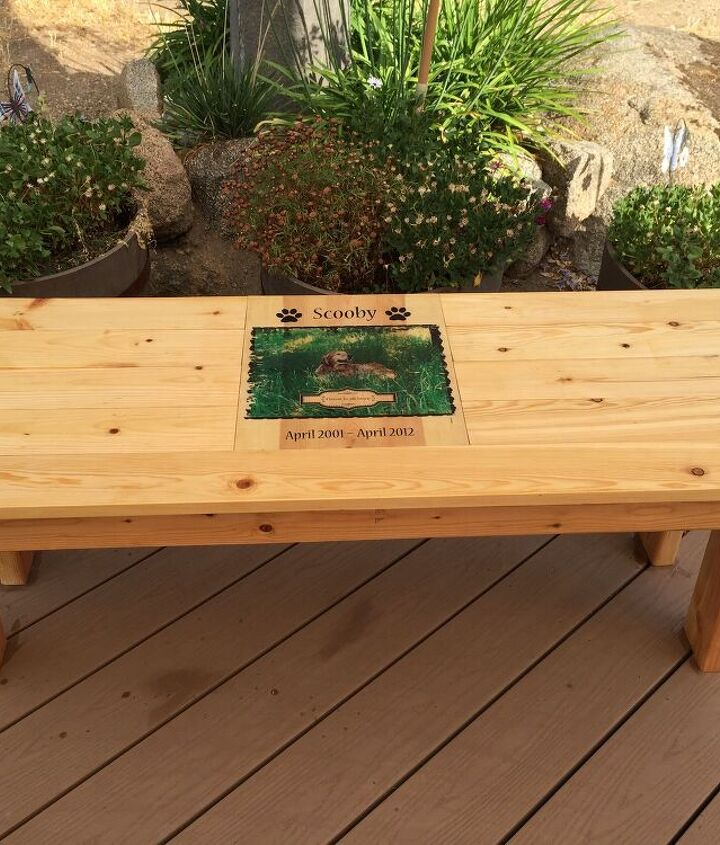 Completed pet memorial bench.