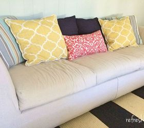 Drop Cloth Slipcovered Reupholstered Couch, Painted Furniture, Reupholster