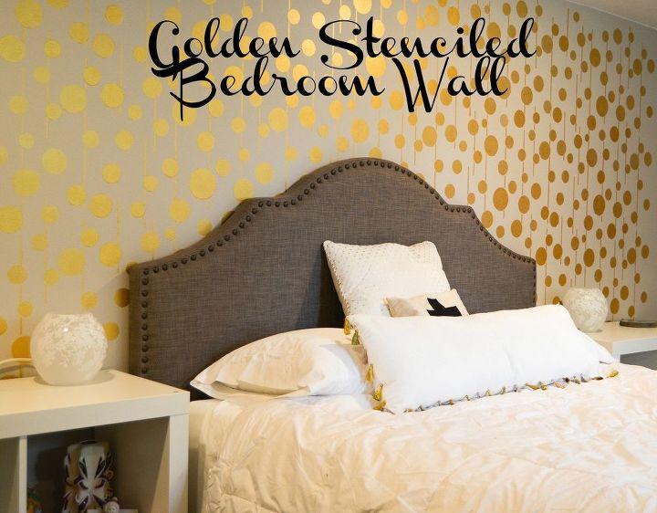 golden stenciled bedroom wall, bedroom ideas, painting, wall decor