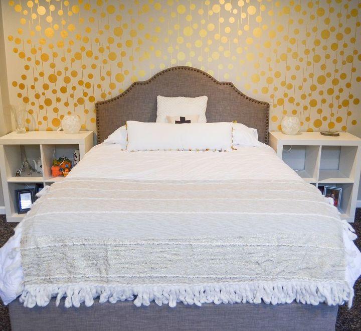 ideas for bedroom wall decor. golden stenciled bedroom wall  ideas painting decor Golden Stenciled Bedroom Wall Hometalk