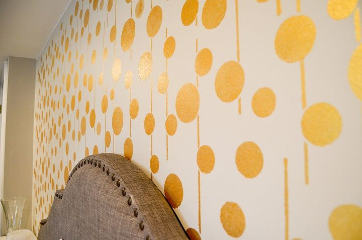 Golden Stenciled Bedroom Wall | Hometalk