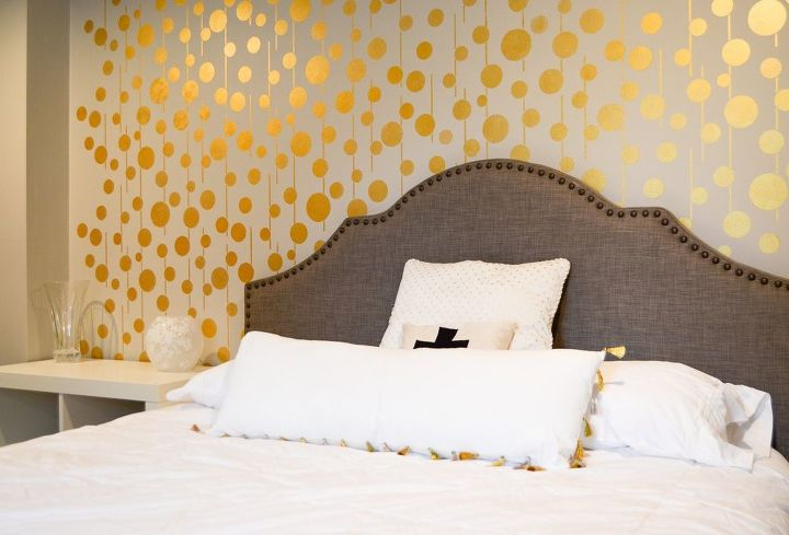 Golden Stenciled Bedroom Wall Ideas Painting Decor