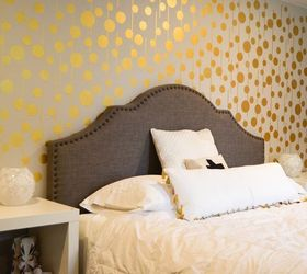 Golden Stenciled Bedroom Wall, Bedroom Ideas, Painting, Wall Decor