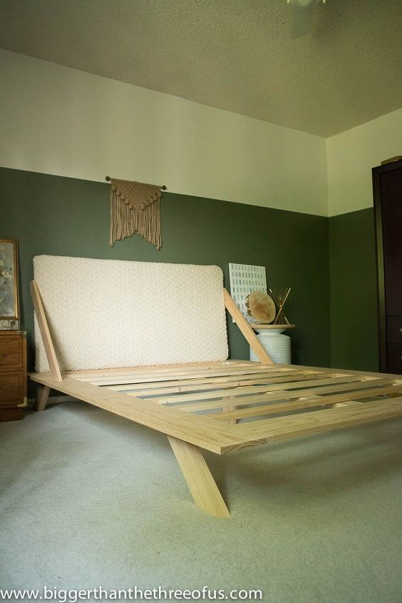 diy mid century modern inspired bed, bedroom ideas, diy, how to, painted furniture, woodworking projects