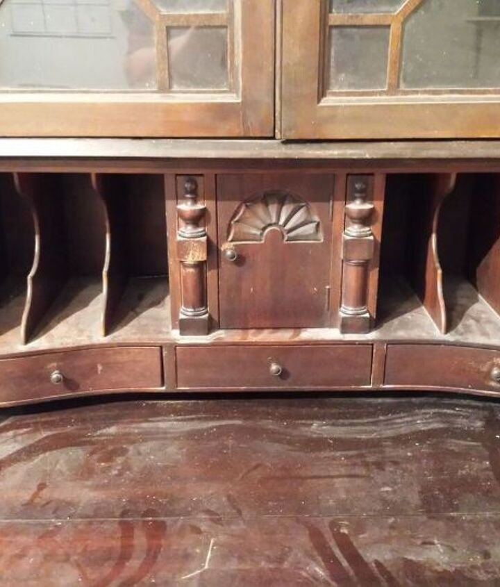upcycled old secretary desk, painted furniture, repurposing upcycling