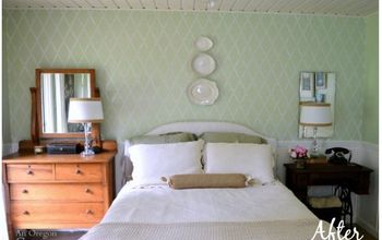 add interest to a room with a stenciled accent wall, bedroom ideas, painting, wall decor