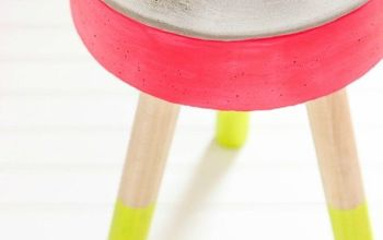 diy concrete stool, concrete masonry, how to, painted furniture