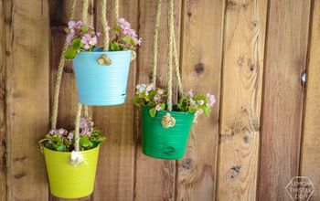 diy hanging patio planters, container gardening, flowers, gardening, outdoor living, patio