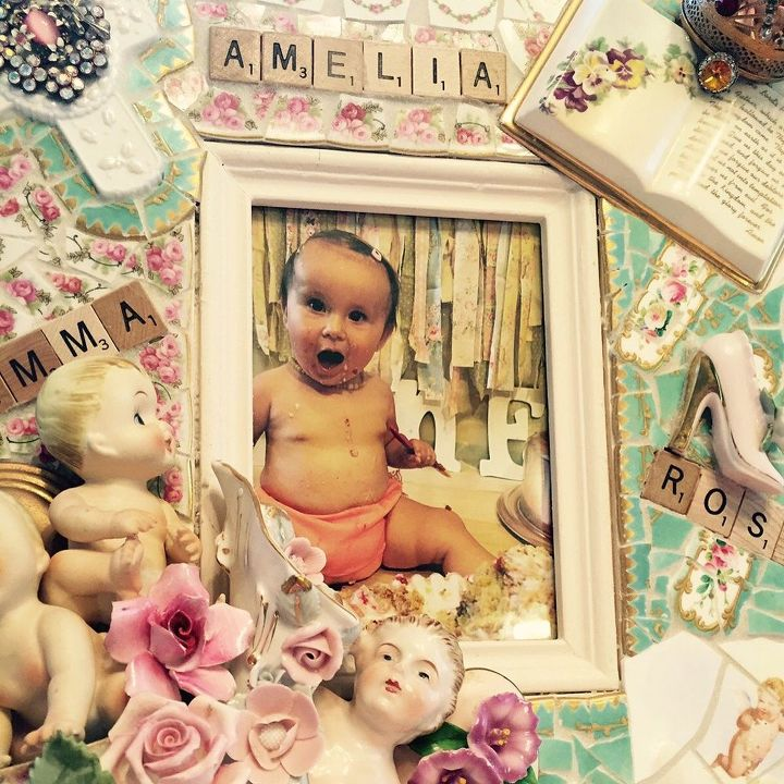 repurposing broken china to create memory frames, crafts, repurposing upcycling, Emma s 1st Birthday Pic