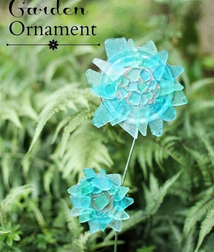 diy sea glass garden ornament, crafts, gardening, how to, repurposing upcycling