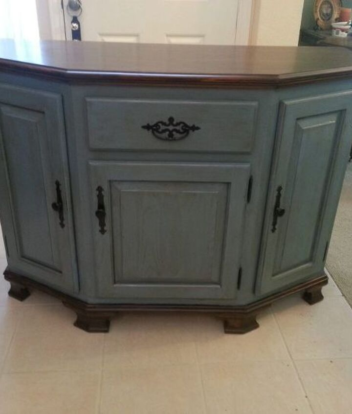 outdated oak storage cabinet buffet makeover, painted furniture