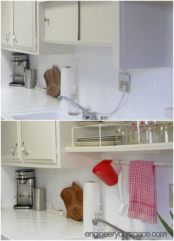 Project via Isabelle @[url=http://www.engineeryourspace.com/small-kitchen-ideas-tension-rod-above-sink/]Engineer Your Space[/url]