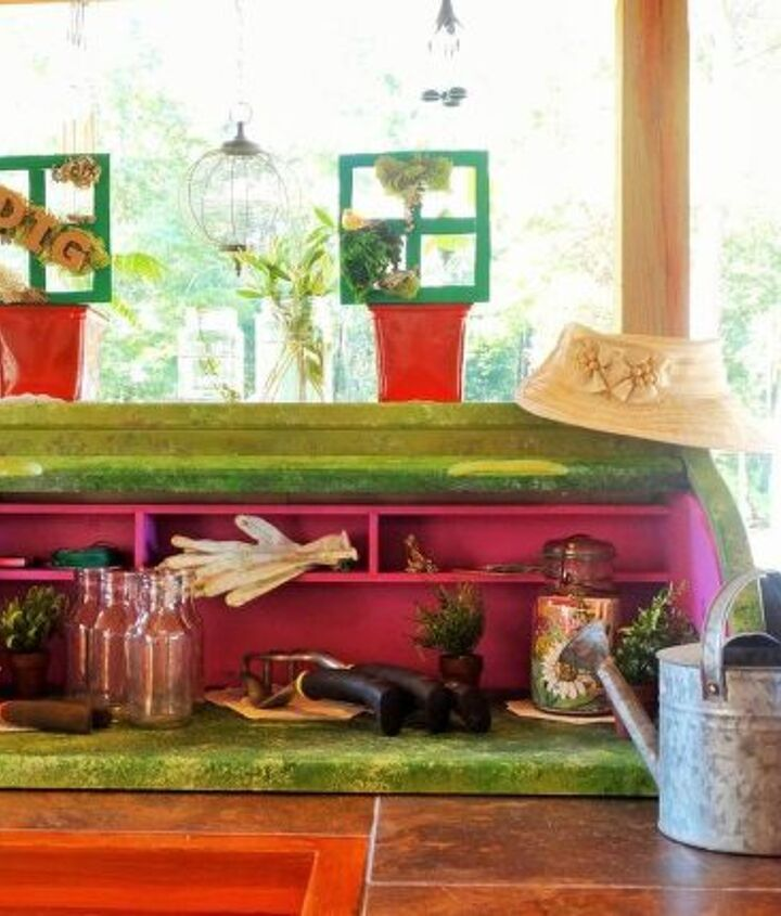 repurposed child s roll top desk to counter potting shed, gardening, outdoor living, painted furniture, repurposing upcycling