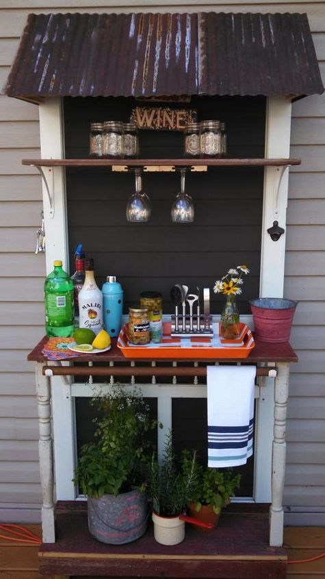 diy outdoor beverage station, outdoor furniture, repurposing upcycling
