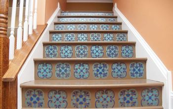 stair riser stencil with tuscan tile design, flooring, home decor, how to, paint colors, painting, stairs