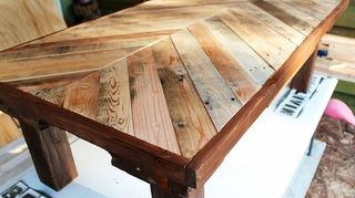 Here Is A Table Made Out Of Pallets