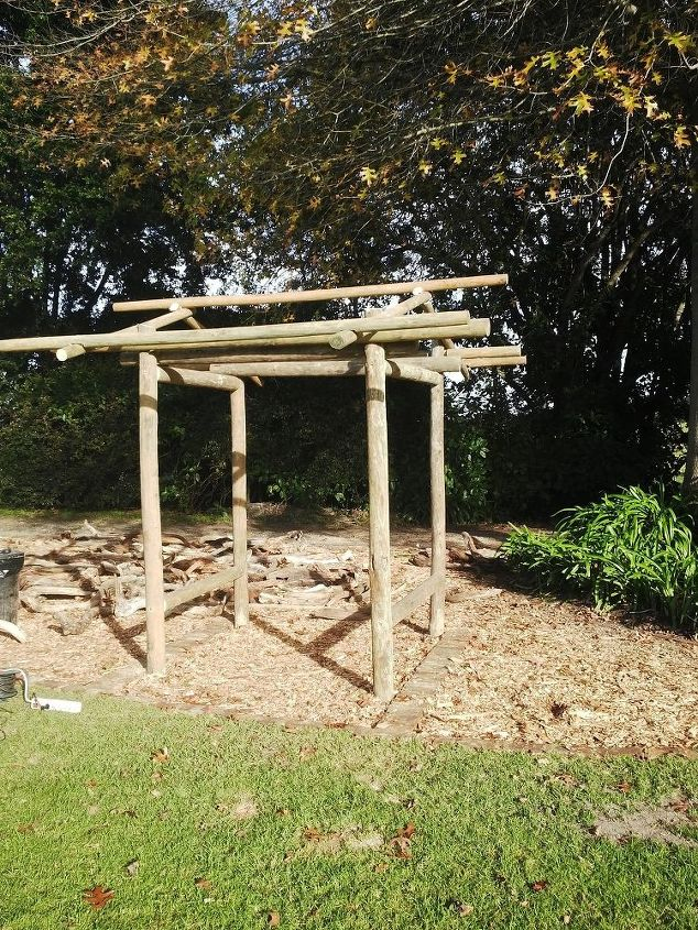 building a driftwood gate at rocky road backpackers, fences, how to, woodworking projects, Structure built with treated timber