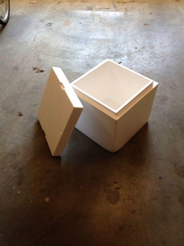 q repurposing a cool styrofoam box to an outdoor ottoman, decoupage, outdoor furniture, repurposing upcycling