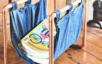 diy upcycled denim and copper magazine rack, crafts, how to, repurposing upcycling