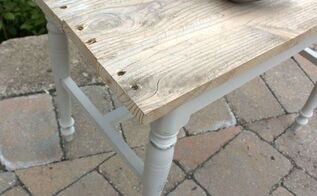 vanity bench to industrial side table, painted furniture, pallet, repurposing upcycling