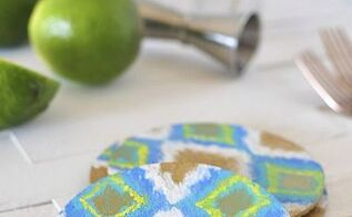 diy ikat cork coasters, crafts, how to