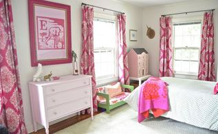 girl s bedroom redesign, bedroom ideas, painted furniture, wall decor, window treatments