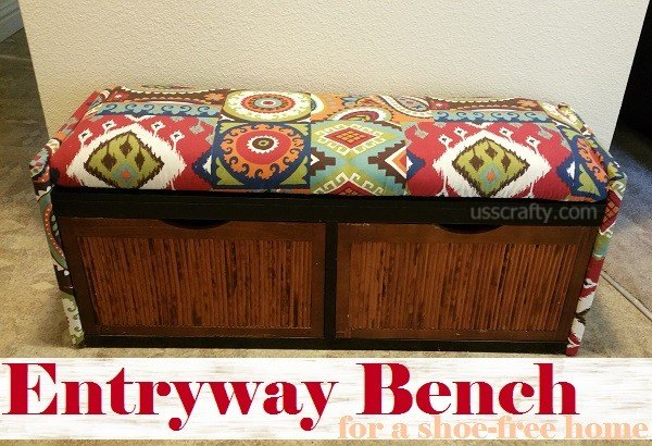 upcycled entryway storage bench, painted furniture, repurposing upcycling, reupholster