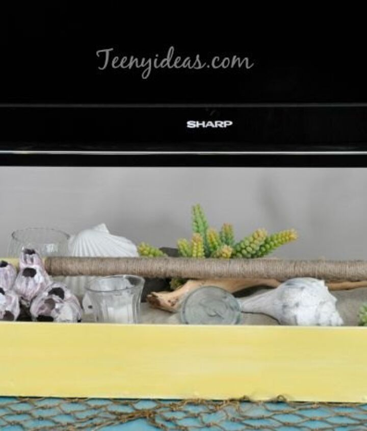beach themed summer vignette using an old tool box, home decor, repurposing upcycling