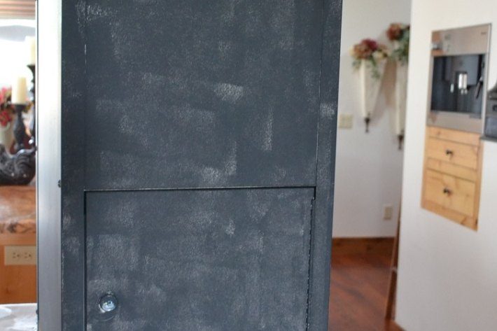ugly industrial file cabinet gets makeover to farmhouse industrial, home office, painted furniture