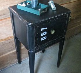 industrial faux metal nightstand painted furniture repurposing upcycling