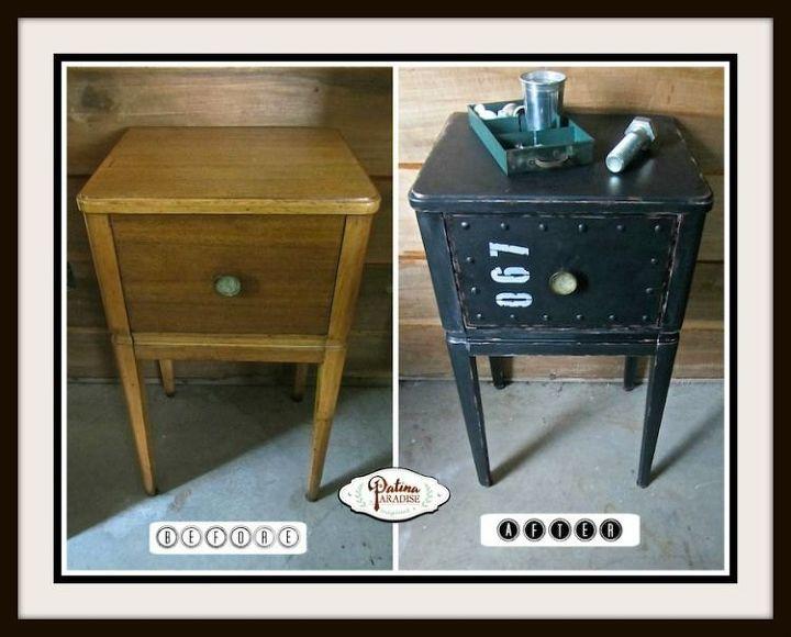 industrial faux metal nightstand, painted furniture, repurposing upcycling