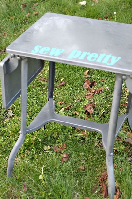 vintage typewriter table makeover, painted furniture, repurposing upcycling