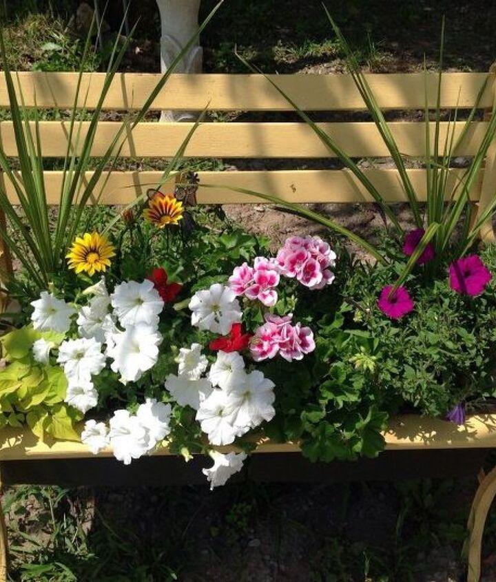 garden bench to planter, container gardening, flowers, gardening, outdoor furniture