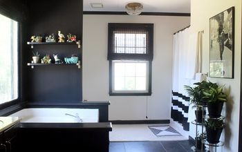 a black white and vintage master bathroom, bathroom ideas