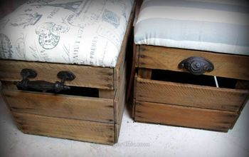 upcycled fruit crate ottoman, how to, repurposing upcycling, storage ideas, reupholster
