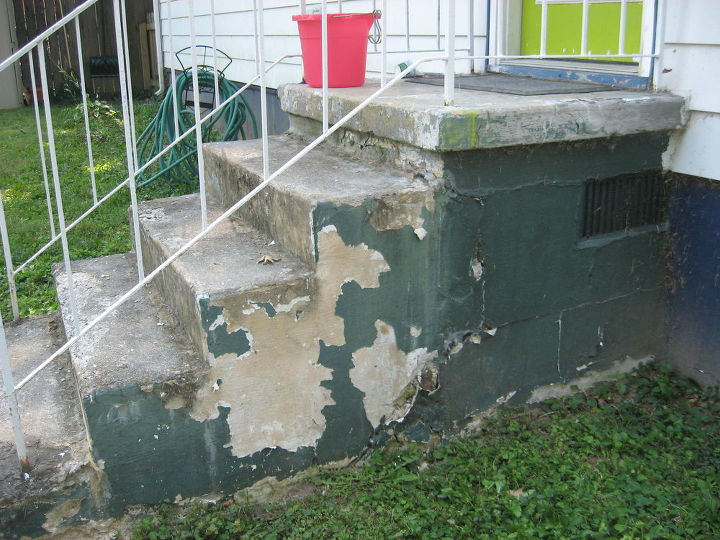 q cheap ideas for fix up of back porch, concrete masonry, decks, outdoor living, stairs