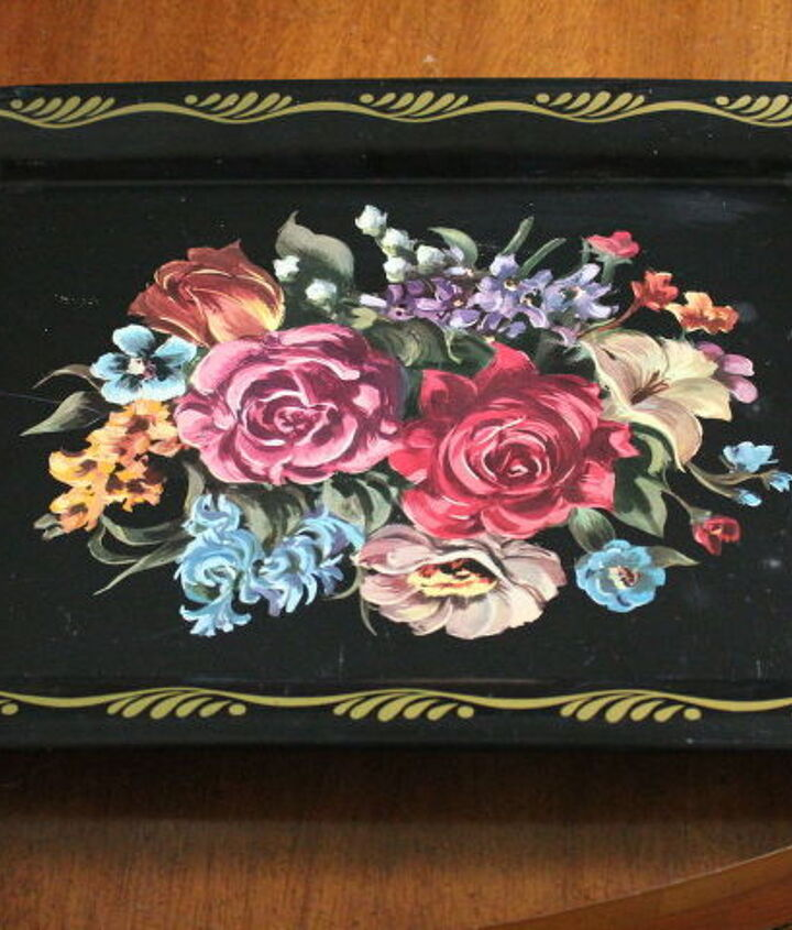 metal tray up cycle, chalkboard paint, crafts, decoupage, how to