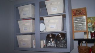 , With the storage baskets and glass jars Open cabinets aren t for everyone but I love these